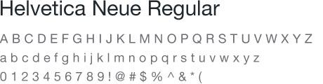 Helvetica Neue Regular Type