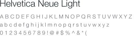 Helvetica Neue Light Type
